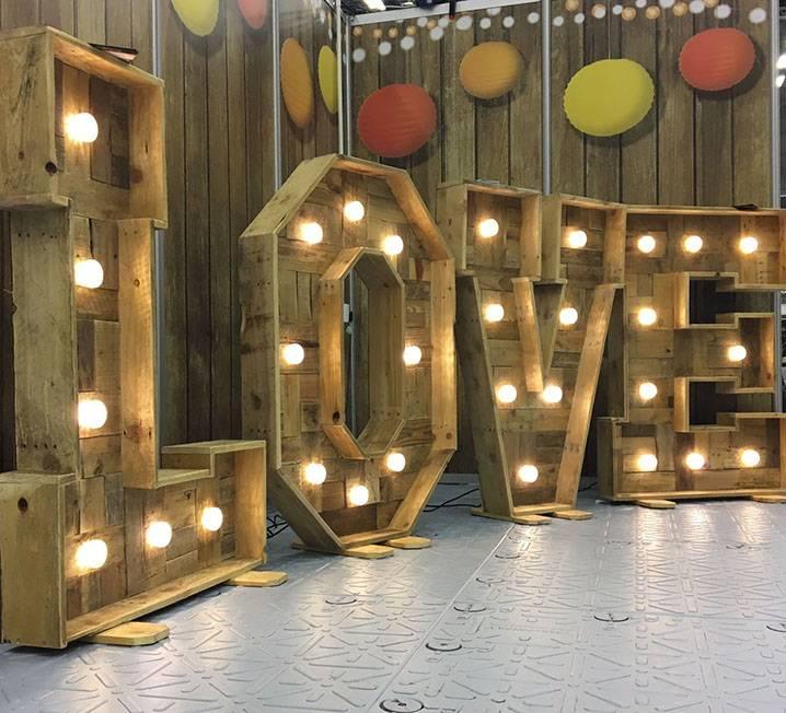 Vintage Love Lit Letters